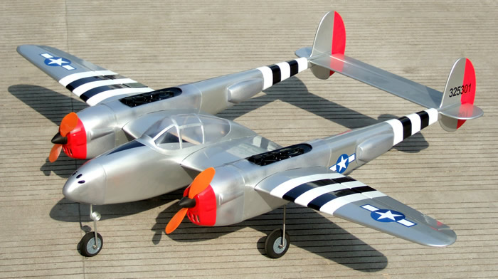 "38 Lightning 52 - 90"" Twin Engine ARF RC Warbird Plane Silver ..."