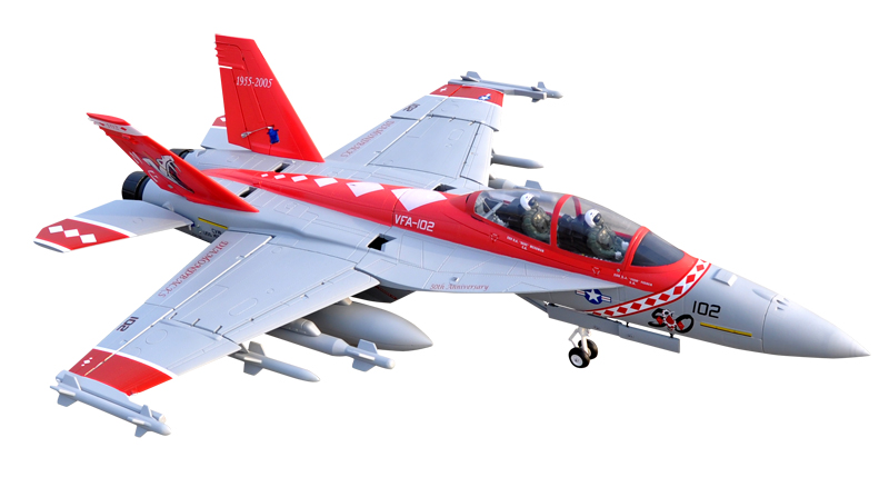 LX F-18 Twin 70mm EDF Red Viper RC Jet With Retracts Kit Version