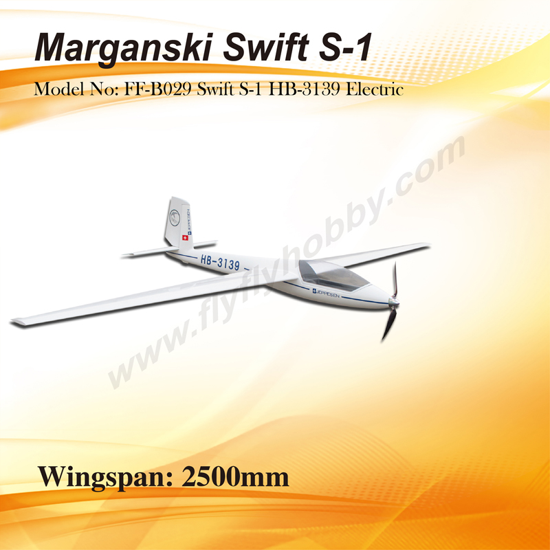 Flyfly Swift S-1 HB-3139 2.5m Glider With Brake