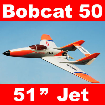 Bobcat 50 Pusher Prop Jet 51'' RC Airplane ARF Silver