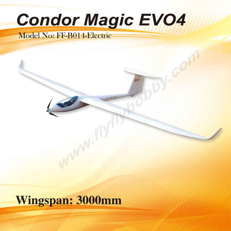 Flyfly Condor Magic EVO4 3M/118'' Electric RC Glider, Returned Item