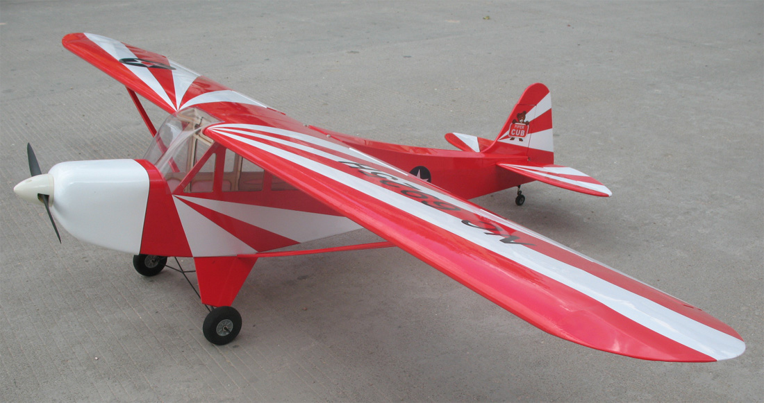 Piper J-3 Cub 60 Fuel/Electric 81'' RC Airplane ARF Red