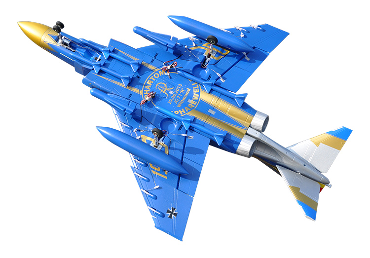 LX F4 Phantom Twin 70mm EDF RC Jet PNP Blue With Retracts and Electric Brake, High Speed Up To 160kph