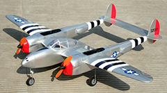 "P-38 Lightning 52 - 90"" Twin Engine ARF RC Warbird Plane Silver"