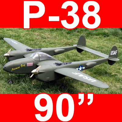 "P-38 Lightning 52 - 90"" Twin Engine ARF RC Warbird Plane Green"