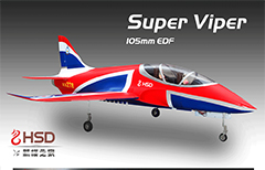 HSD Super Viper 105mm Bypass EDF 1500mm Wingspan RC Jet Kit V2 Blue