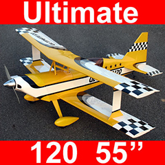 Ultimate 120 55'' Nitro Gas Bipe RC Airplane ARF Yellow, Missing Fuselage, Good for Parts