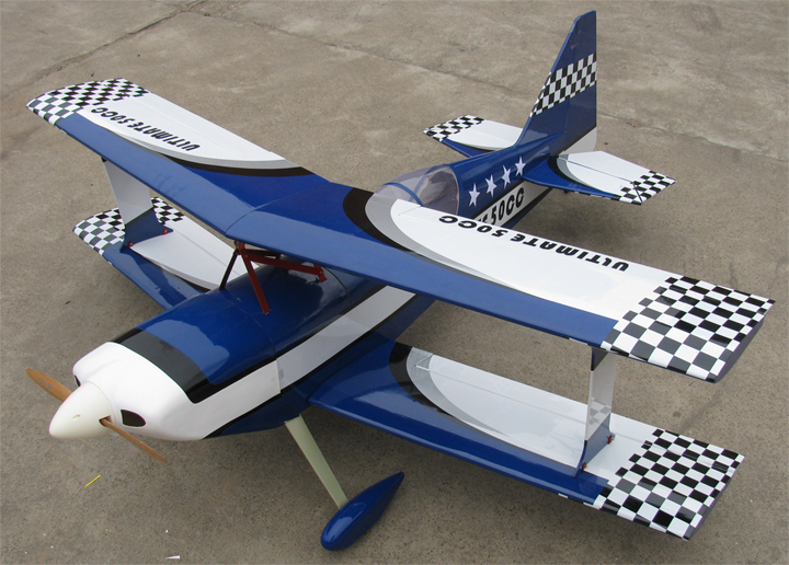 Ultimate 50CC 71'' Bipe Biplan RC Airplane ARF Blue