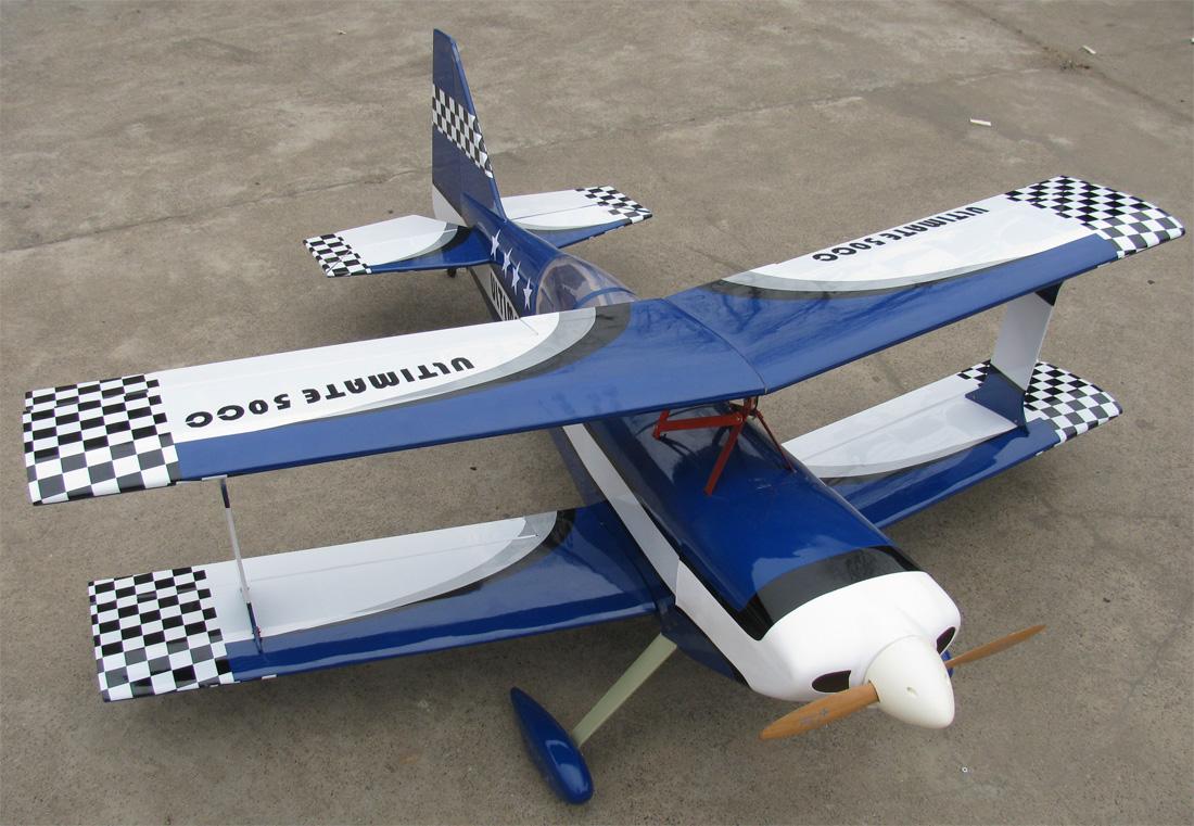 Ultimate 120 55'' Nitro Gas Bipe RC Airplane ARF Blue